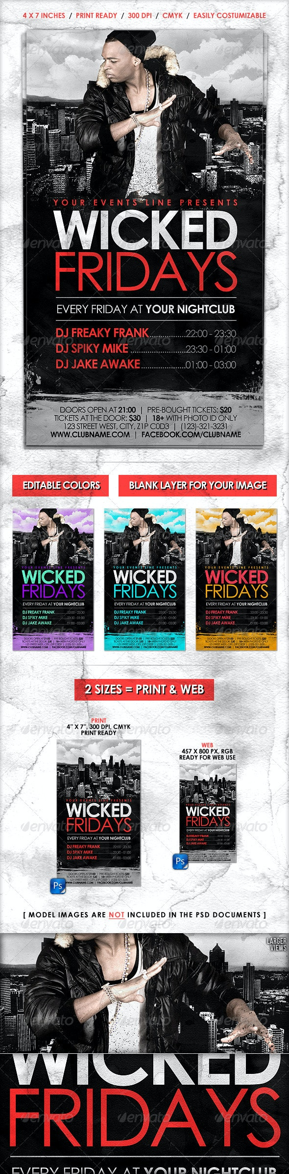 Cityscape Flyer // Adjustable Colors in 2 Sizes - Clubs & Parties Events
