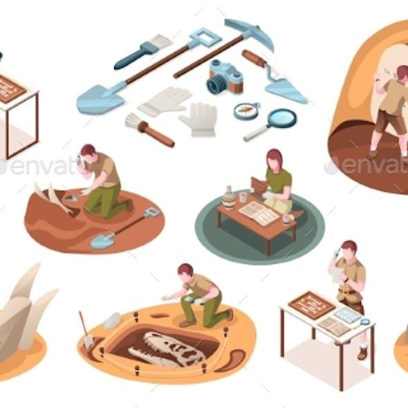 Set of Isolated Icons for Archaeology Paleontology