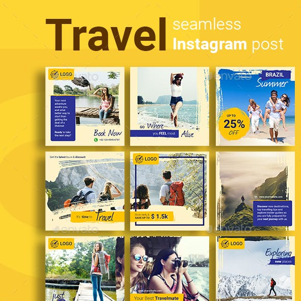 Travel Social Media Post Template with Yellow Color Theme
