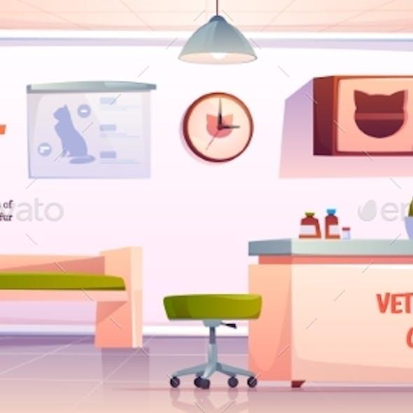 Vet Clinic Reception or Veterinary Hall Interior