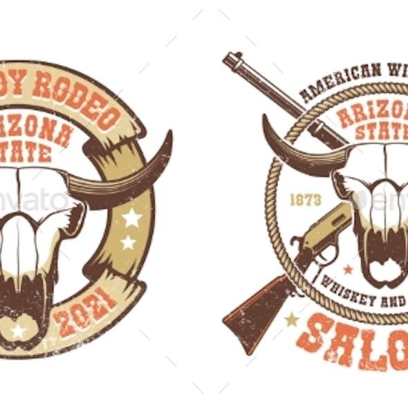 Western Retro Logo Buffalo Skull with Crossed Rifles