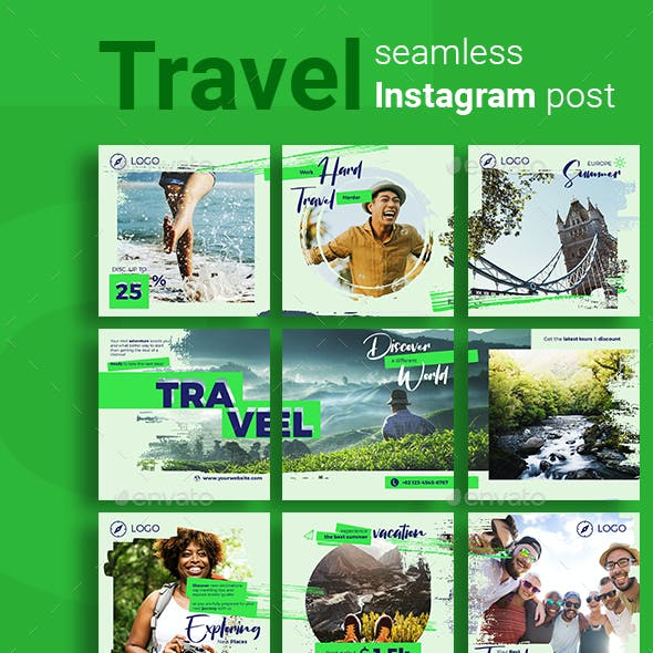 Travel Social Media Post Template with Green Color Theme