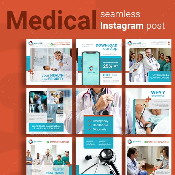Medical Social Media Post Template with Red Color Theme