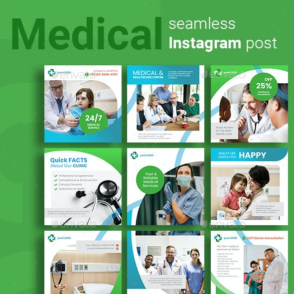 Medical Social Media Post Template with Green Color Theme