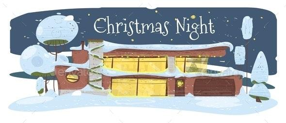 Christmas Night Greeting Card Suburban Cozy House - Christmas Seasons/Holidays