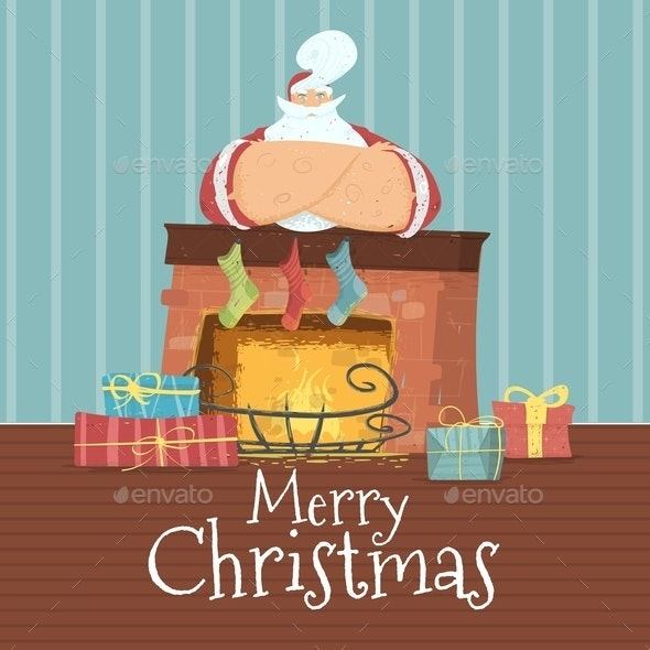 Merry Christmas Card with Santa Claus in Costume - Christmas Seasons/Holidays