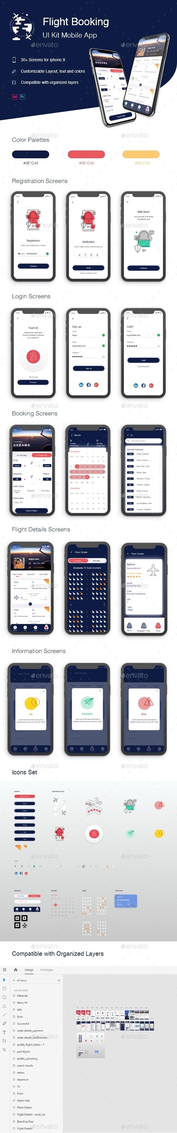 Flight Booking UI Kit Mobile App - User Interfaces Web Elements