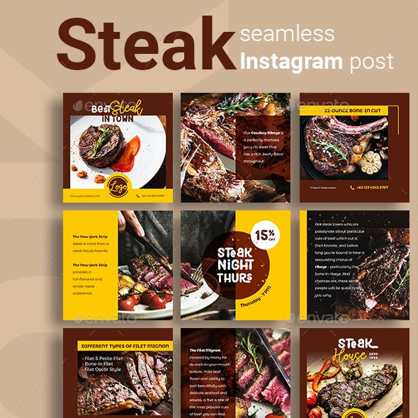 Steak Social Media Post Template with Brown Color Theme