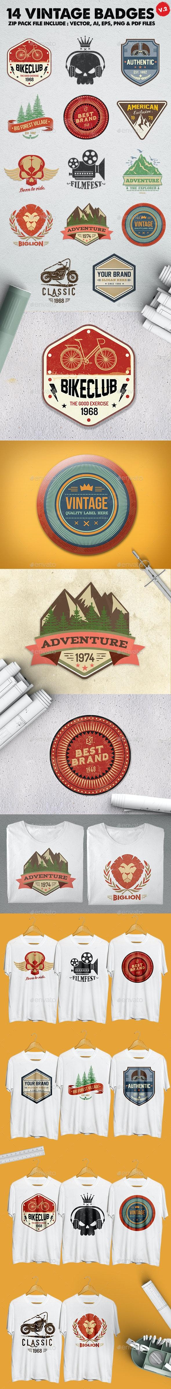 14 Vintage Badges & Logo Version 2 - Badges & Stickers Web Elements