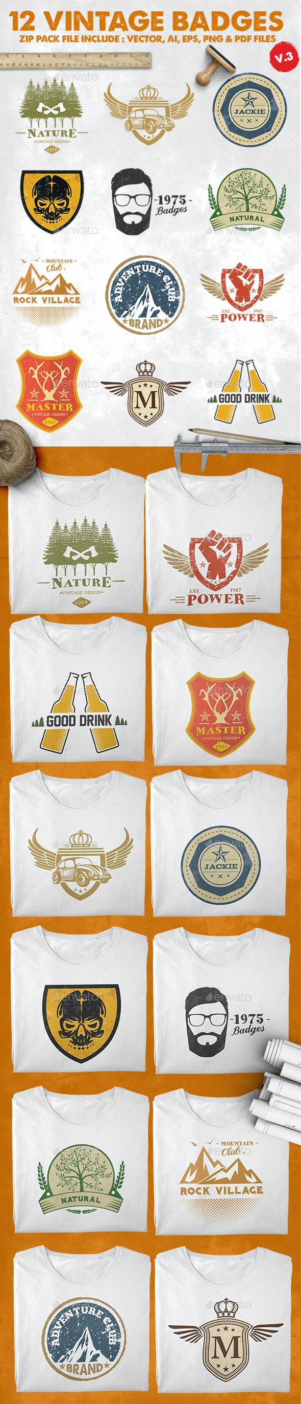12 Vintage Badges & Logo Version 3 - Badges & Stickers Web Elements