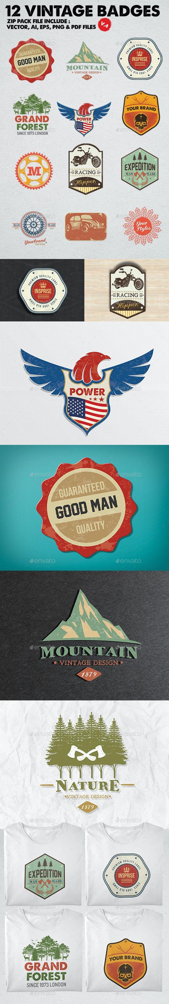 12 Vintage Badges & Logo Version 4 - Badges & Stickers Web Elements