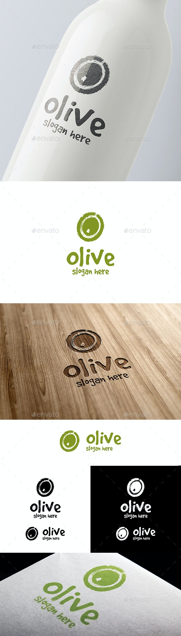 Green Olive Vector Logo in a Grunge Style - Food Logo Templates