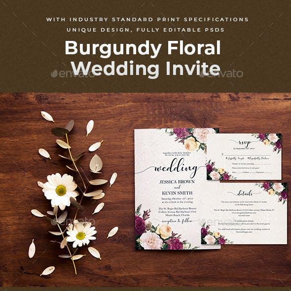 Burgundy Floral Wedding Invite