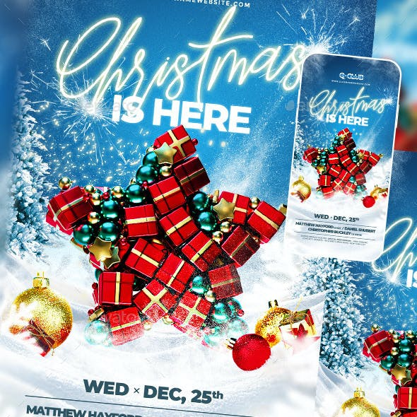 Blue Background with Gifts Christmas Flyer Design