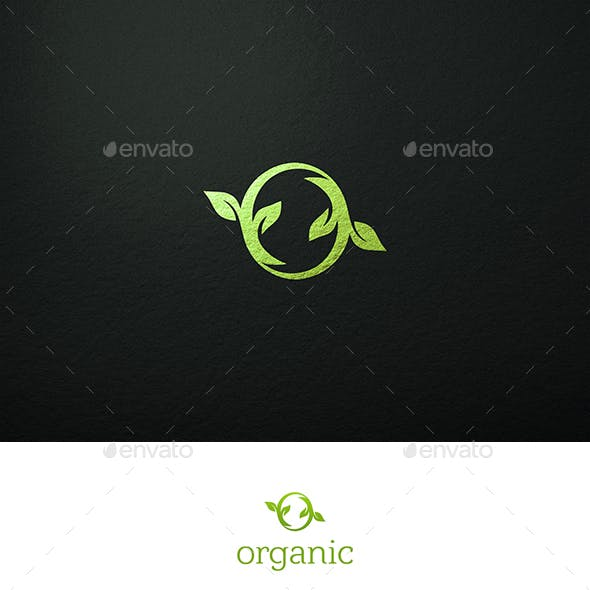 Organic Logo O Letter and Leaves