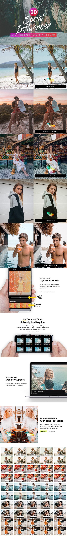 50 Social Media Influencer Lightroom Presets LUTs - Portrait Lightroom Presets