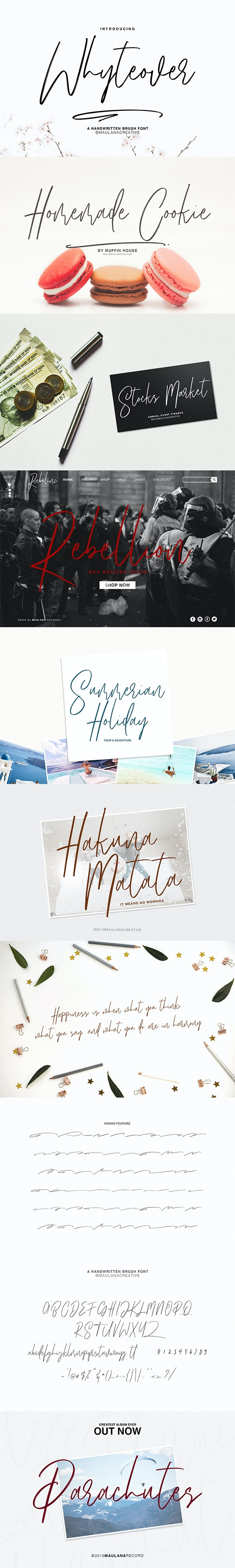 Whyteover Typeface - Hand-writing Script