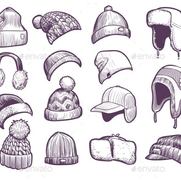 Hand Drawn Winter Hats