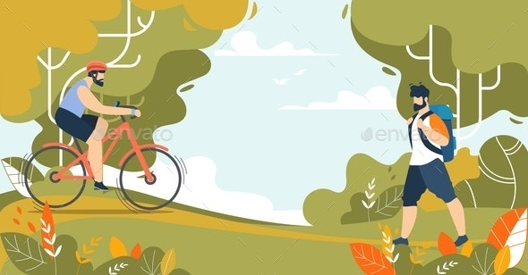 Sportive Men and Outdoors Activities in Nature - Sports/Activity Conceptual