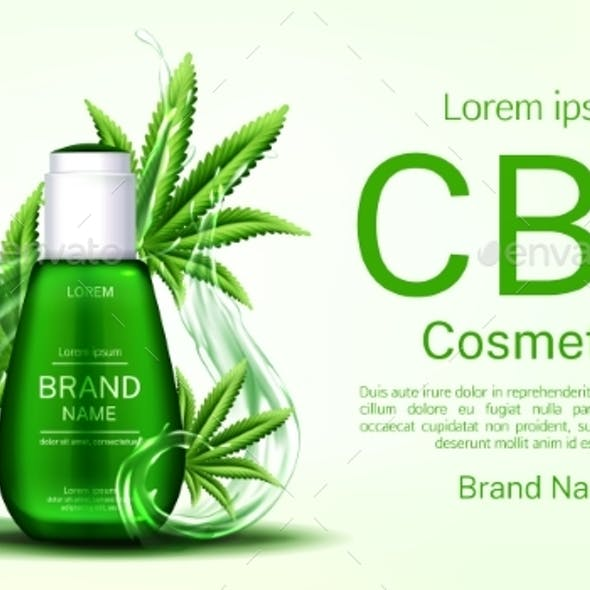 Cbd Cosmetics Bottle with Water Splash and Leaves