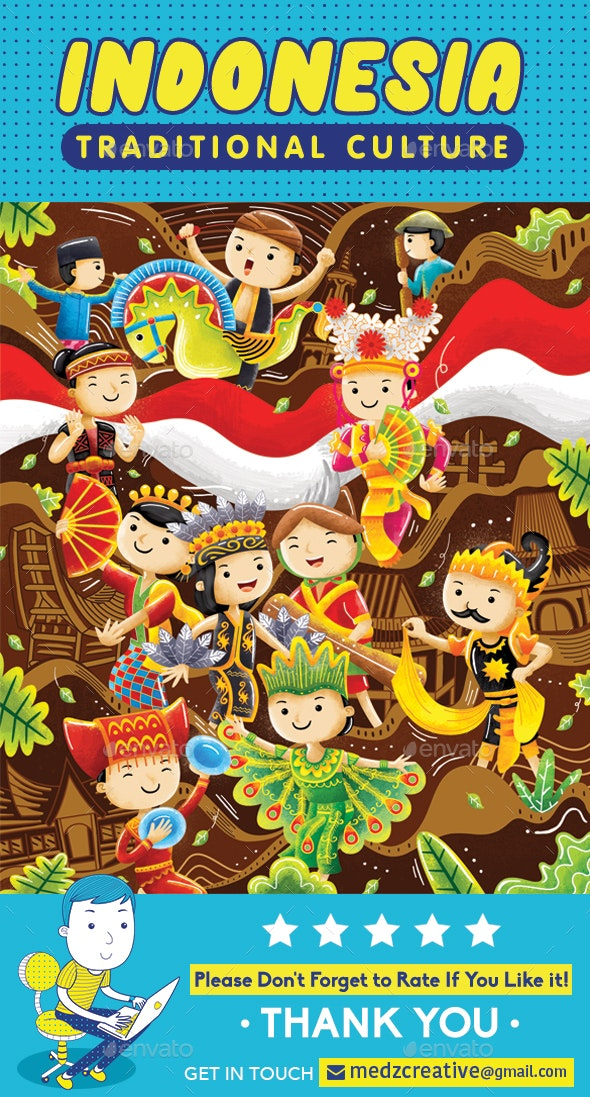 Indonesia Traditional Culture - Characters Illustrations