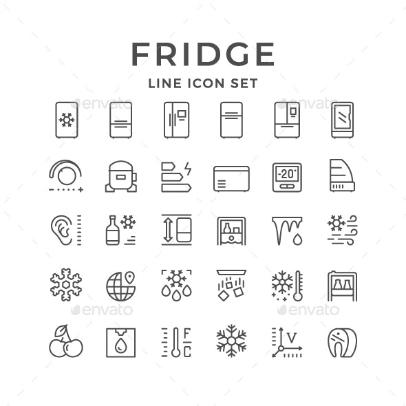 Set Line Icons of Fridge - Man-made objects Objects