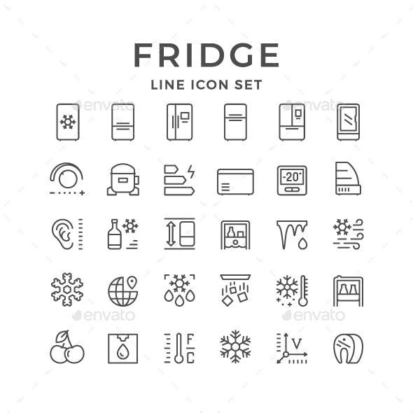Set Line Icons of Fridge