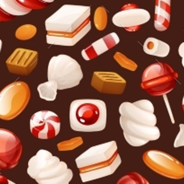 Header with Bright Pattern of Candies