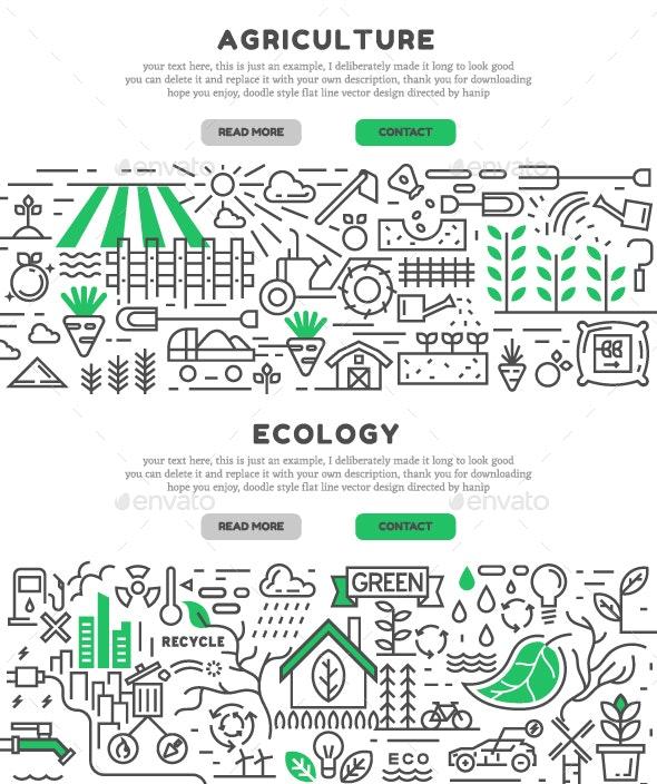 Green Flat Line Designed Landing Page - Landscapes Nature