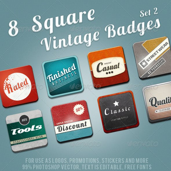 8 Square Vintage Badges II