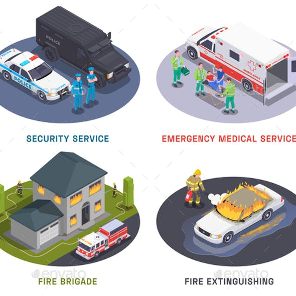Emergency Services Isometric Compositions