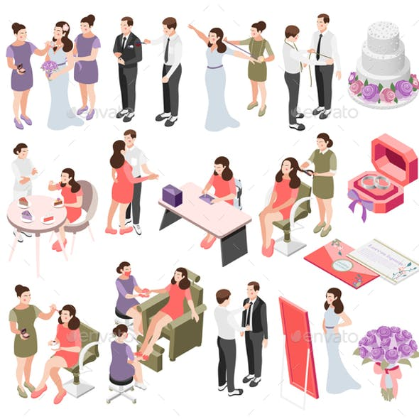Wedding Planning Isometric Icons