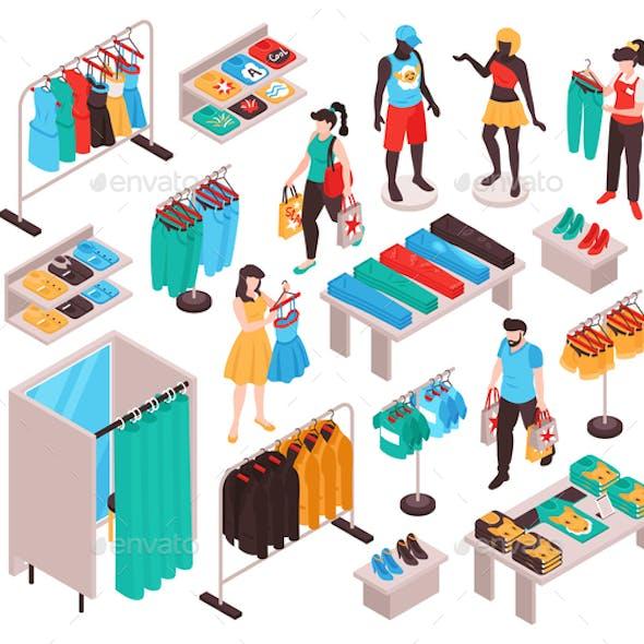 Clothing Store Isometric Set