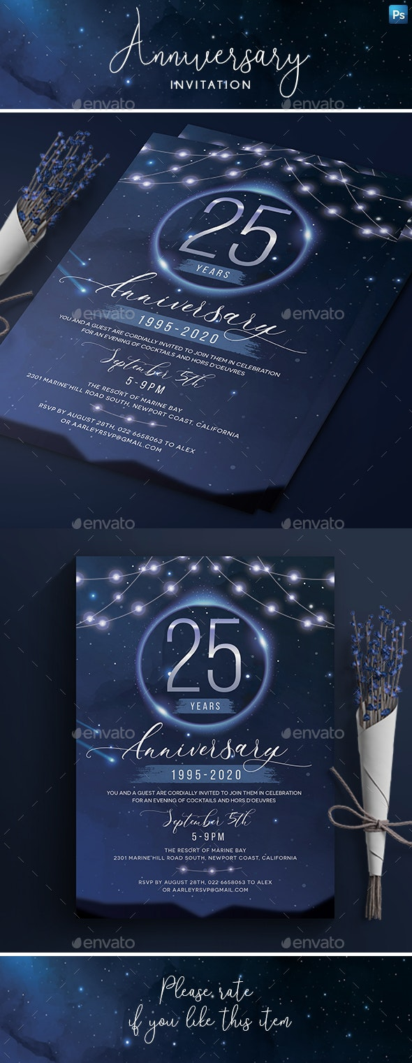 Stars Anniversary Invitation - Anniversary Greeting Cards
