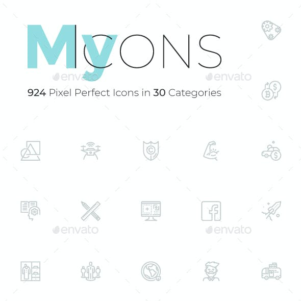 My Icons. 924 Pixel Perfect Icon Collection