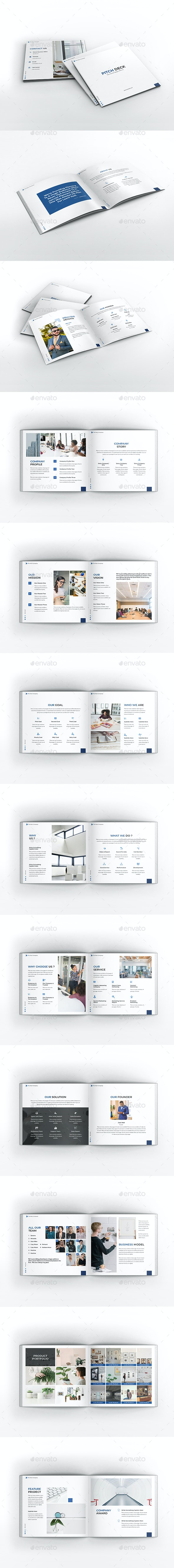 Pitch Deck Business Square Brochure - Brochures Print Templates