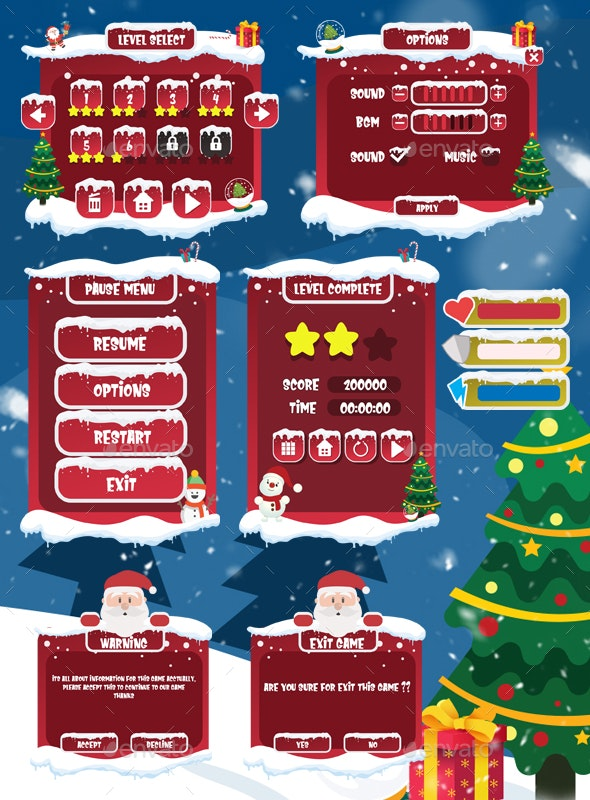 Christmas Game GUI Pack - User Interfaces Game Assets