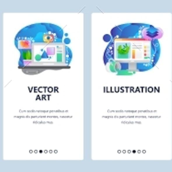 Mobile App Onboarding Screens Digital Art