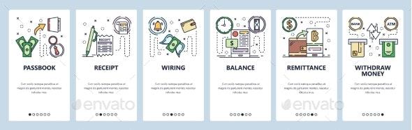 Mobile App Onboarding Screens Digital Currency - Web Elements Vectors