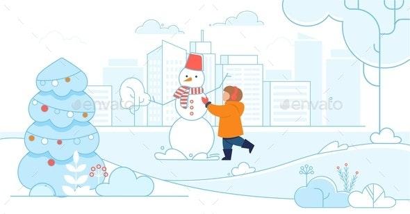 Cartoon Happy Child Making Snowman on City Street - Miscellaneous Seasons/Holidays