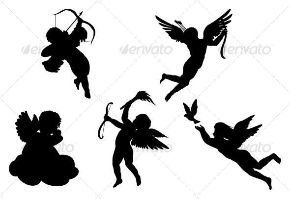 angels silhouettes - Decorative Symbols Decorative