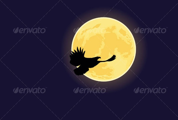 Eagle flying to the moon - Animals Characters