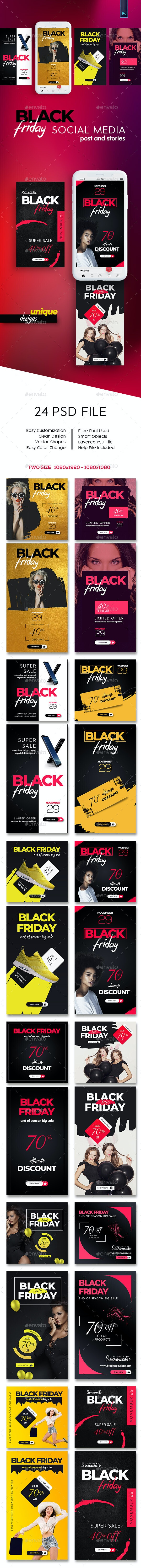 Black Friday Instagram Post and Stories - Social Media Web Elements