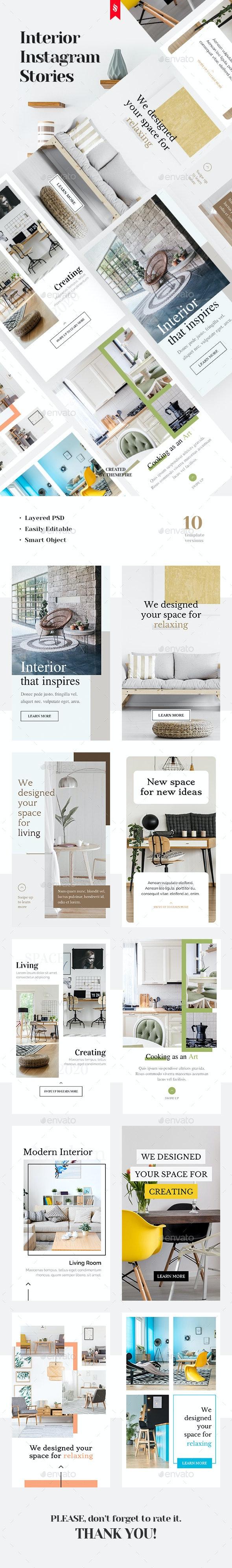 Interior Instagram Stories - Social Media Web Elements