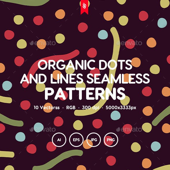 Organic Dots and Lines Seamless Patterns