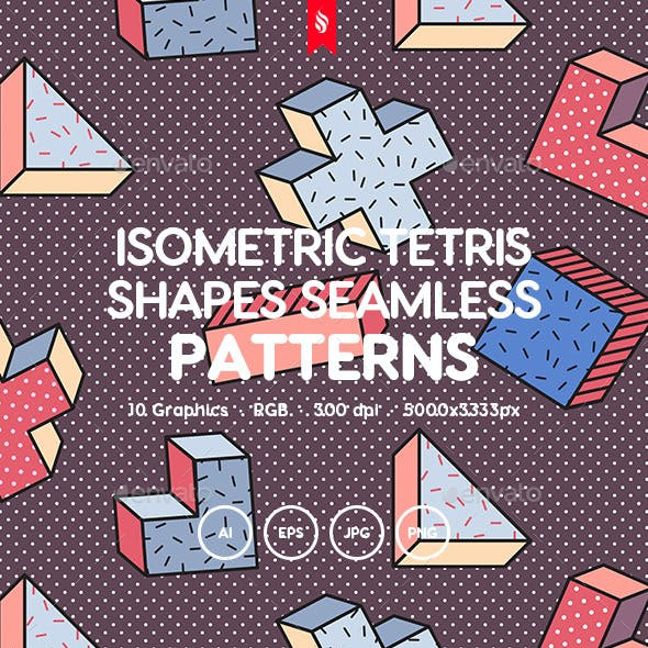 Isometric Tetris Shapes Seamless Patterns