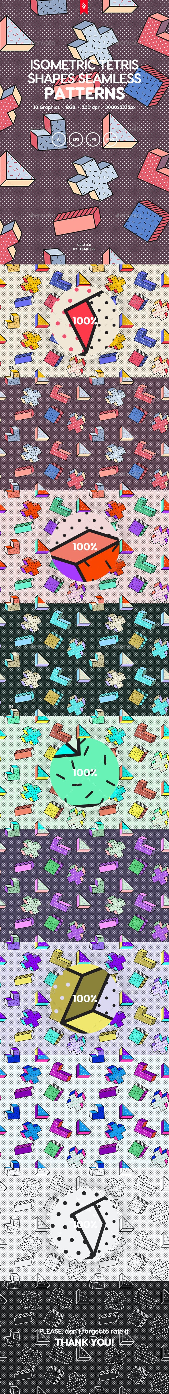 Isometric Tetris Shapes Seamless Patterns - Patterns Backgrounds