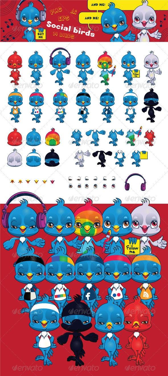 Social Bird Creation Kit - Characters Vectors