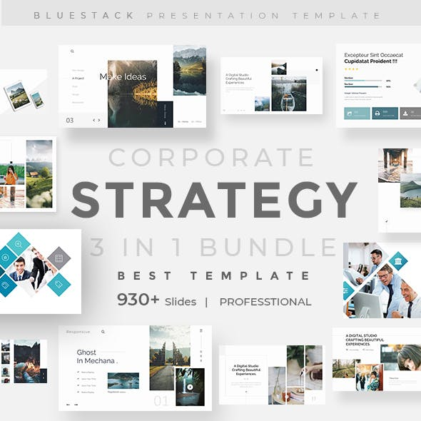 3 in 1 Corporate Strategy Creative and Business Bundle Keynote Pitch Deck Template