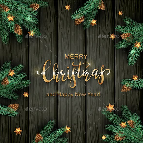 Christmas Tree Branches and Stars on Black Wooden Background